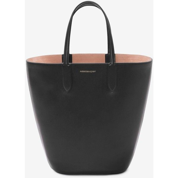 Alexander McQueen Small Basket Bag ($1,245) ❤ liked on Polyvore featuring bags, handbags, black, logo bags, alexander mcqueen, alexander mcqueen handbags, alexander mcqueen bags and alexander mcqueen purse