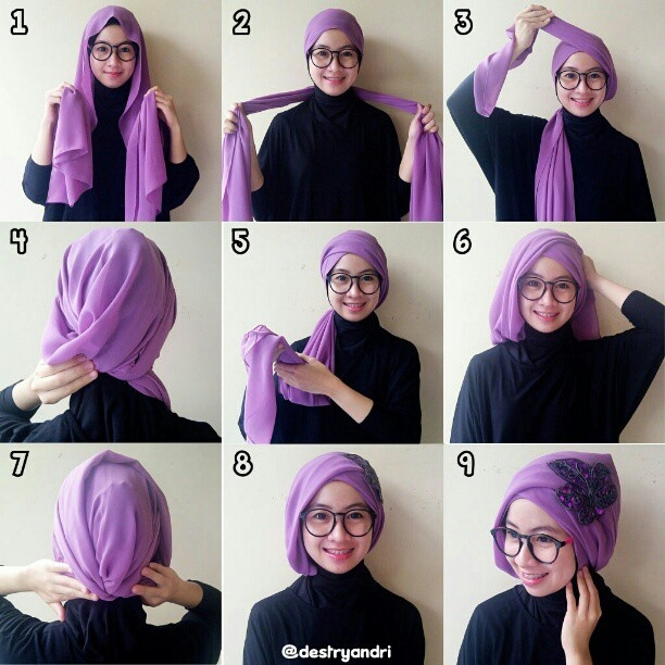 Simple turban tutorial using long shawl
