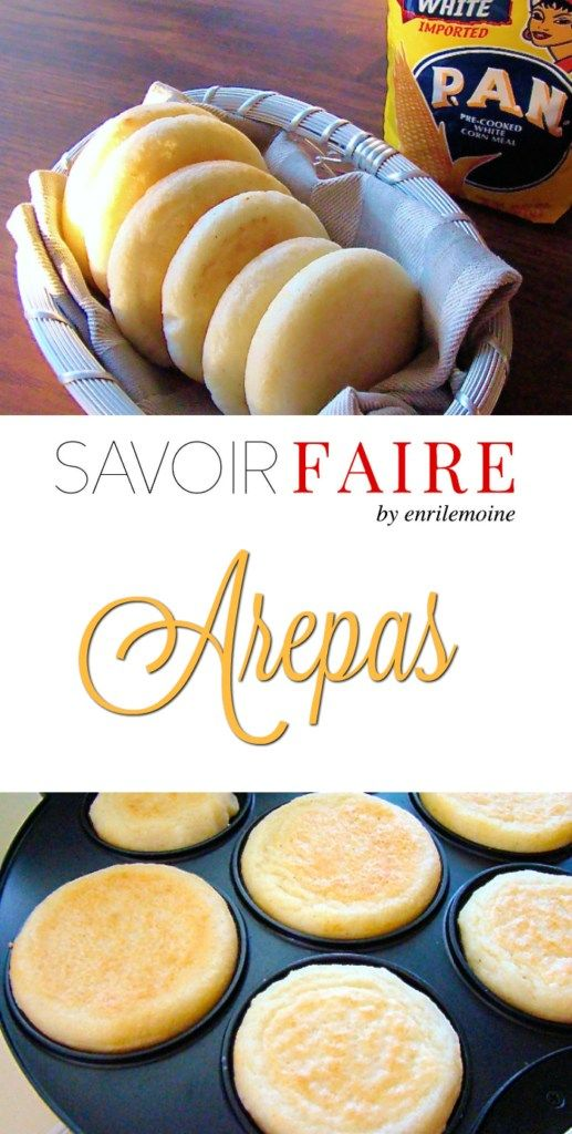 This the traditional Venezuelan arepas recipe. Arepas are made with pre cooked corn flour (arepa flour). They can be eaten with ham, cheese, meat, chicken and tuna salad. Good Food, Yummy Food, Tasty, Venezuelan Food, Venezuelan Recipes, Colombian Food, Colombian Arepas, Colombian Desserts, Comida Latina