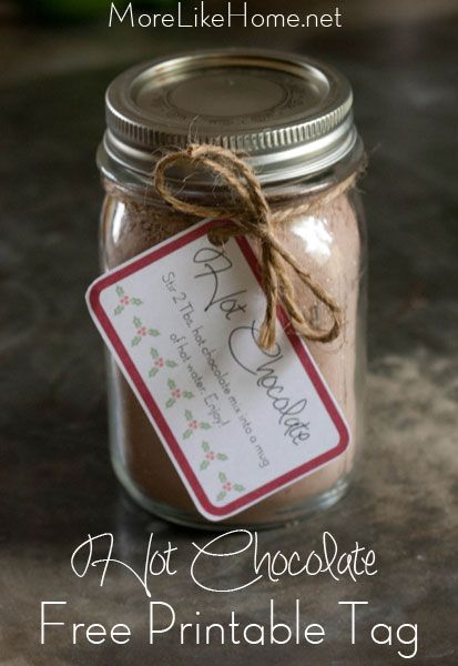 Homemade hot chocolate mix plus free printable labels that make it perfect for gifting! MoreLikeHome.net