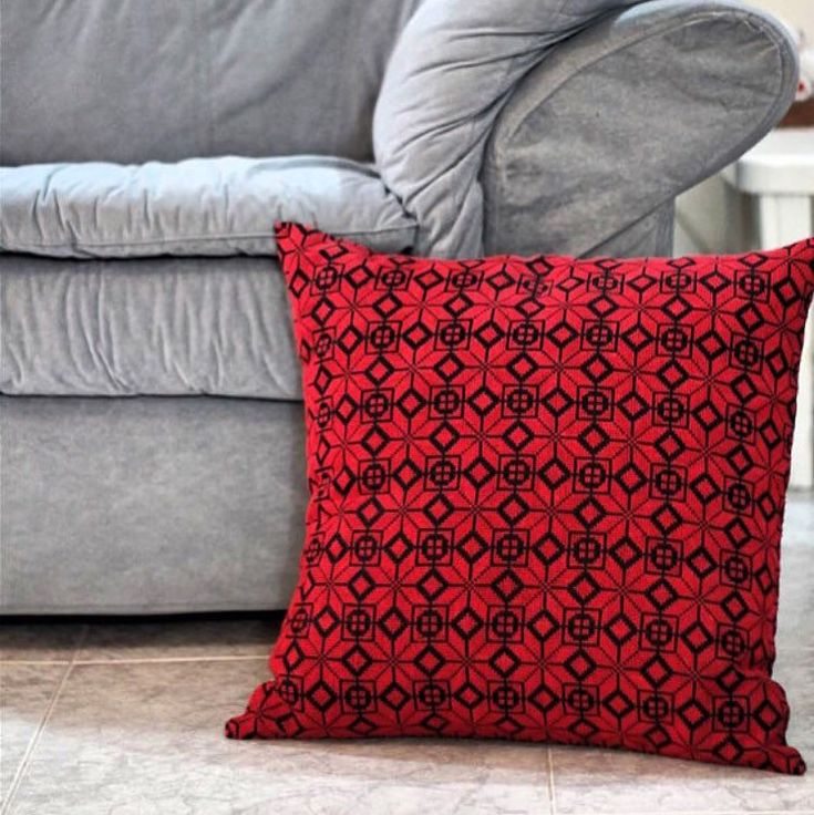 Just finished working on a new -one my fav-embroidery products. High quality, hand made, big size decorative pillow. The perfect piece for a palestinian decorative touch with the traditional red.