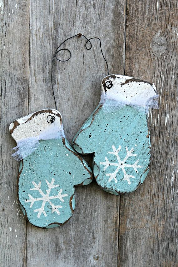 Winter Christmas Decor Shabby Chic Holiday Aqua Blue