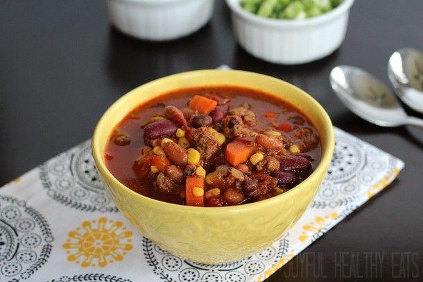 Three Bean & Beef Crock Pot Chili | Chili Recipes