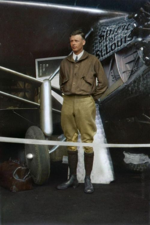 Charles Lindbergh in May 1927, a few days before crossing the Atlantic. [[MORE]] I hired the amazing Dana Keller to colorize this original photo of Charles Lindbergh i had. It's amazing how it gives life to a photo!