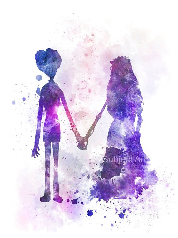 Corpse Bride ART PRINT illustration Victor and Emily by SubjectArt