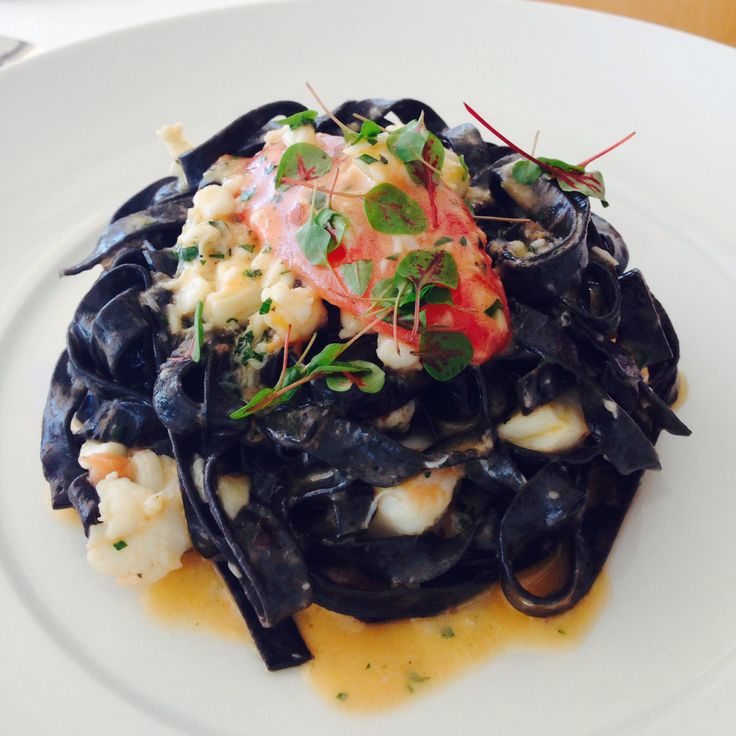 Fettuccine nero with lobster, tomatoes & chilli infused lobster oil