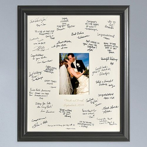 This beautiful laser etched guest book photo signature frame captures memories of your wedding guests in a whole new way.