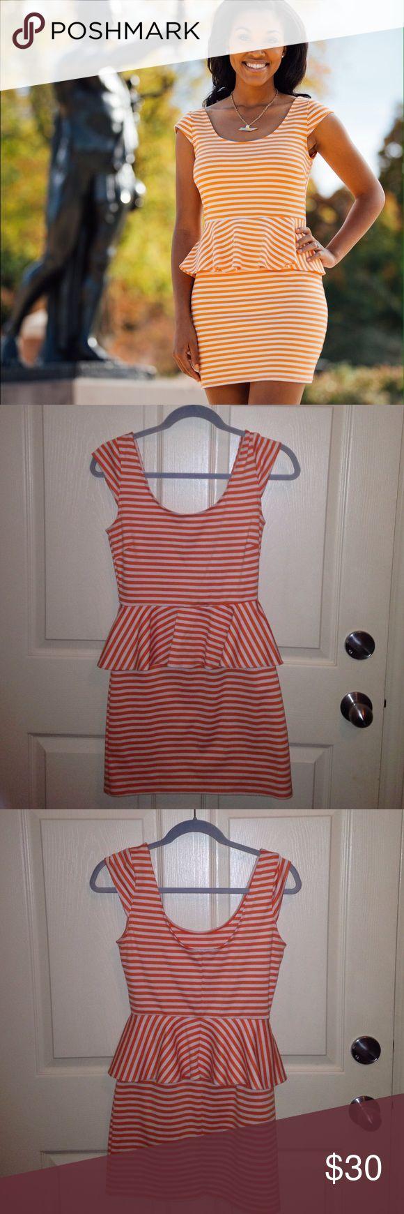 Orange and White Striped peplum dress Perfect for UT football games! Go Vols! Orange and White striped peplum dress. Speechless Dresses Mini