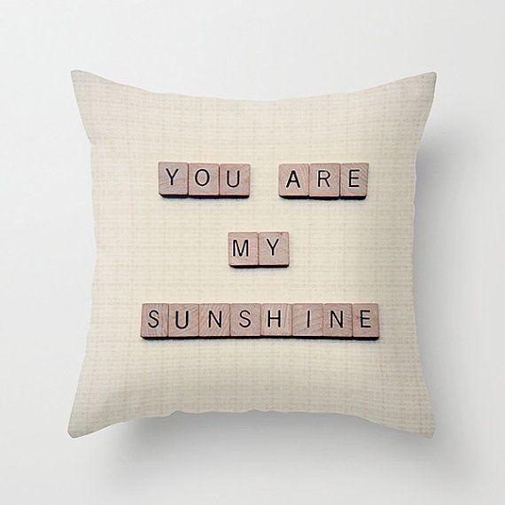 Nursery Pillow cover - 16x16 pillow case - nursery accent pillow case - you are my sunshine - neutral pillow case - nursery throw pillow