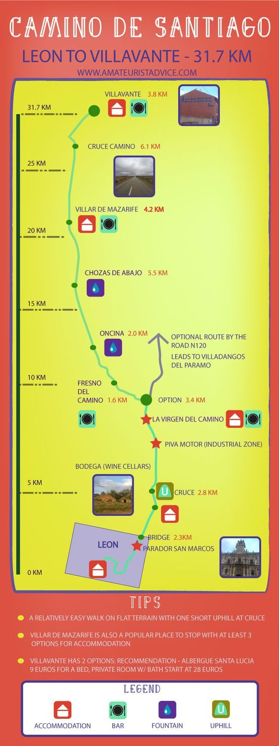 Two Week Camino - Day 1 - Leon to Villavante 30 km. https://www.pinterest.com/pin/67765169376427698/?fref=gc
