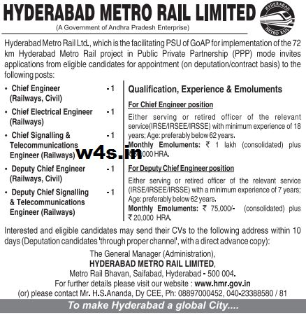 There is a good news to all the candidates who are seeking the job because the Hyderabad Metro Rail Corporation