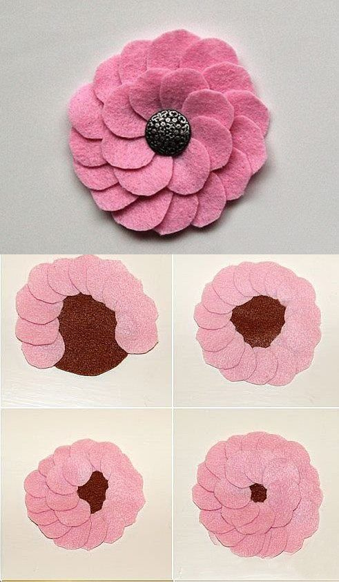 via FB page--  Lovehobbycraft  Simple way to make felt flowers, I bet you guys can do it only according to the pics, if you wanna know some other fabric flowers diy pls visit:http://bit.ly/1201XtD