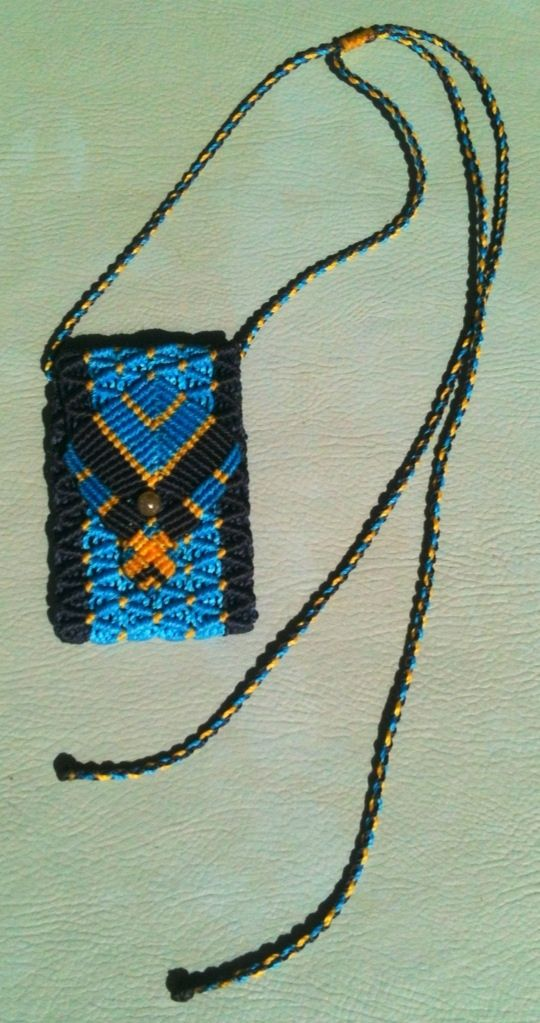 Micro macrame medicine pouch. Takes 4-5 hours to make. AUD38. blue and yellow with labradorite button.
