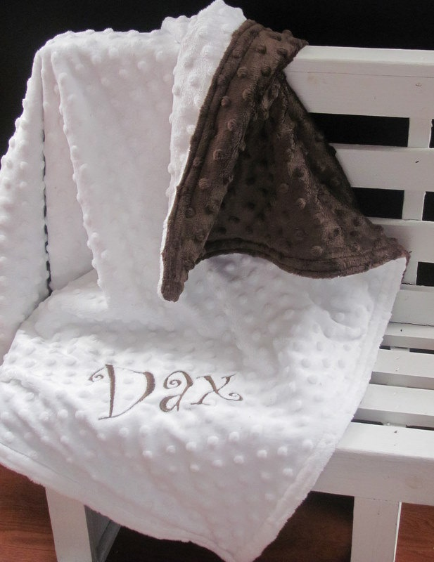 Dax - Soft Minky Chenille Personalized Baby Blanket in by SewEmbroiderMe