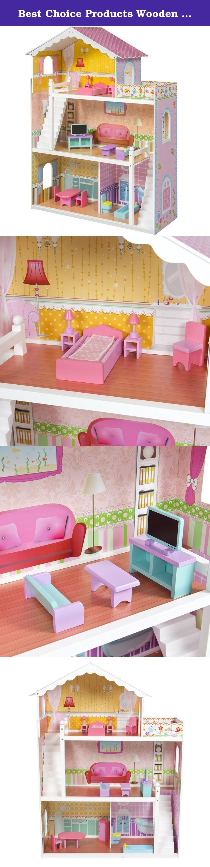 "Best Choice Products Wooden Dollhouse with Furniture. Best Choice Products presents you this brand new dollhouse with furniture. This environmental friendly, non-toxic paint wooden dollhouse features 3 stories of fun, illustrated with a bathroom, a bedroom, a living room, a kitchen, and a balcony. This dollhouse comes with 17 pcs mini wood furniture, and can accommodated Barbie or dolls up to 14"" tall. This beautiful dollhouse is a prefect addition to kid's playroom. Kids will definitely..."