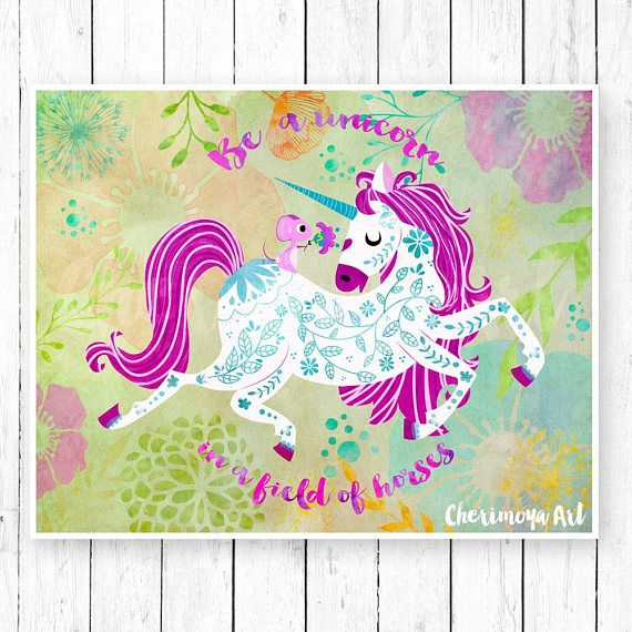 Unicorn Wall Art Unicorn Print Unicorn Decor Unicorn Art