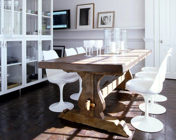 farmhouse table, modern chairs