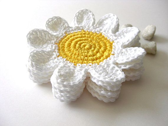 White Yellow Flowers Coasters Beverage Drink Petal by MariMartin, $22.00..looks like summer