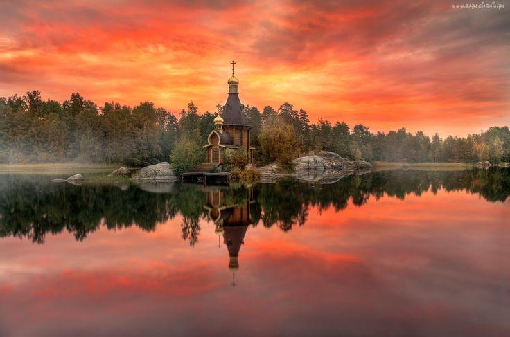 Jezioro, Las, Niebo, Cerkiew