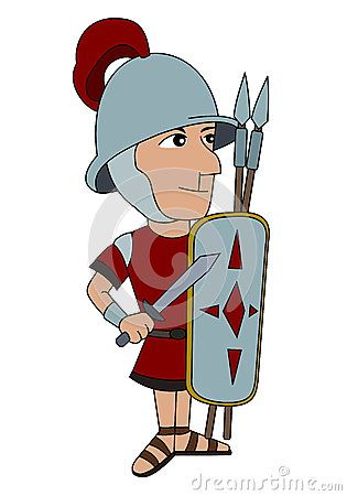 Punic wars - Illustration of a Roman legionnaire isolated on a white background