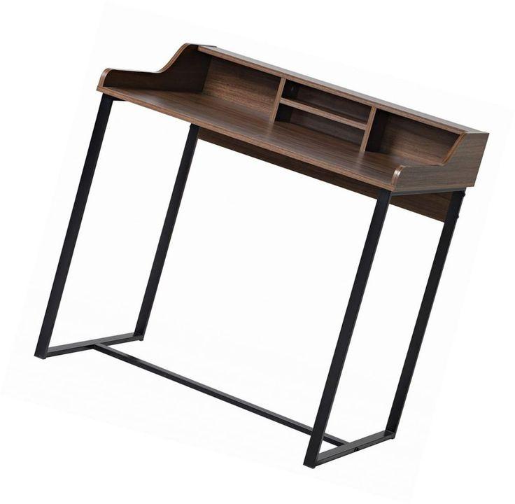 Mocha Brown Modern Secretary Desk Compact Workstation Black Steel Frame #Unbranded #ModernSophisticatedRetro