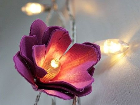 Recycle egg cartons into beautiful lit flowers