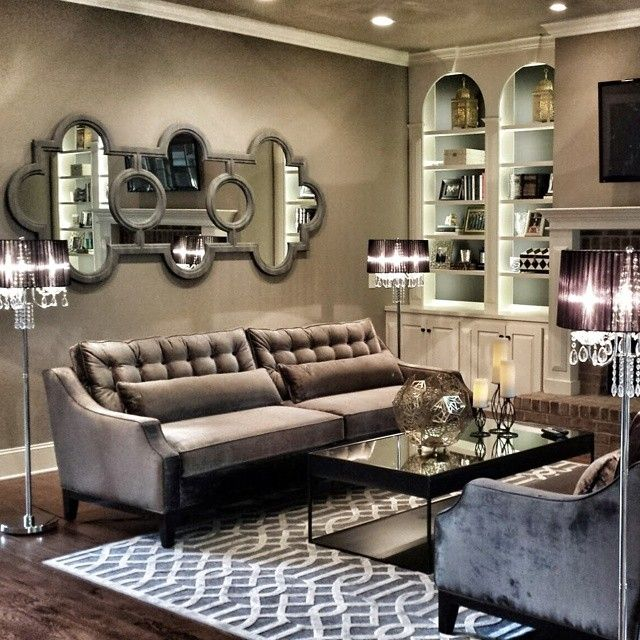 This living room by @Design Defined Interiors features our Brighton Sofas, Trellis Rug, &  Aspect Hurricane.