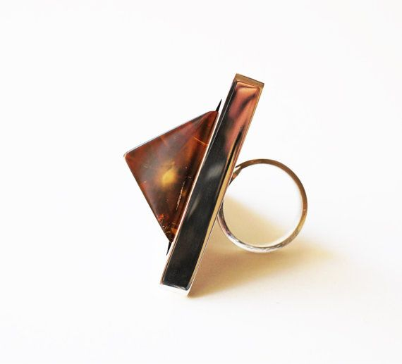 Luxury Baltic Amber Sterling Silver Ring no.600K