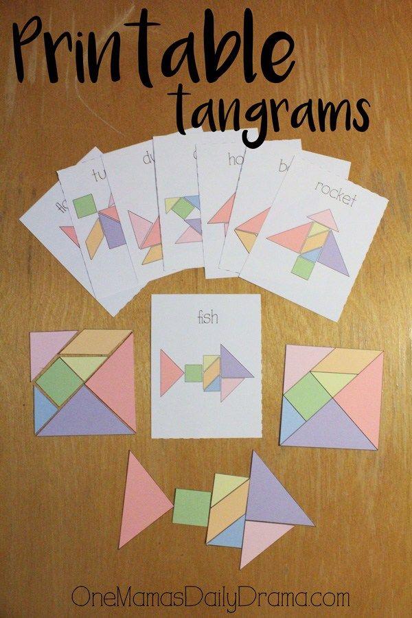 Printable tangrams + challenge cards | travel bag activity for kids