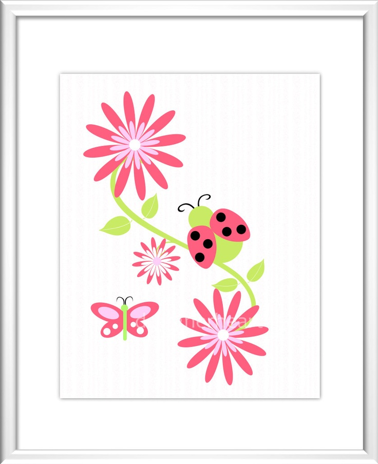 Baby Nursery Wall Art  - Digital Art -  Flowers - LadyBug - Butterfly - Pink - Purple - Red - Baby Nursery Decor - Kids Room - Nursery Art. .