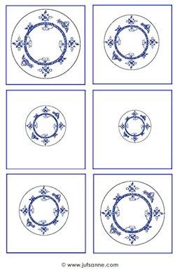 Delfts blauwe borden ordenen van groot naar klein.