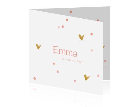 Hip geboortekaartje voor een meisje met speelse roze aquarel confetti en met goud structuur gekleurde hartjes. Alles is aan te passen!