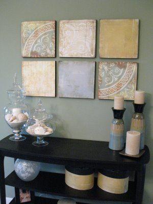 scrapbook paper-covered foam boards = pretty wall art for under $20: Decor Ideas, Styrofoam Crafts, Paper Wall Art, Scrapbook Paper Art, Scrapbook Art, Paper Artworks, Diy Wall Art, Scrapbook Pages, Scrapbook Paper Crafts