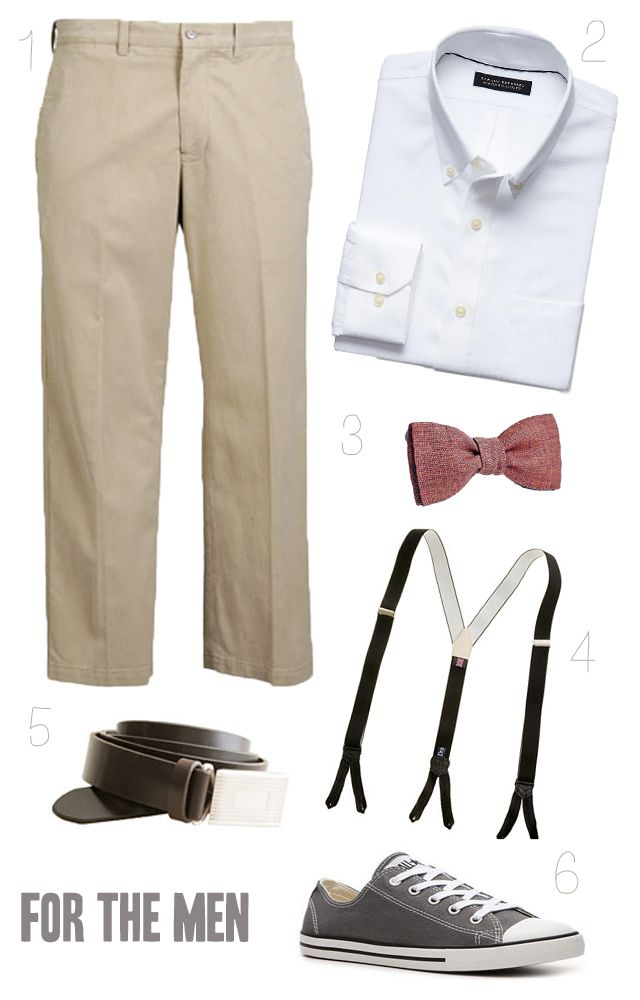 Groomsmen: khakis, white collared shirts, mismatched bow ties, suspenders, and replace the Converse with Vans. I dig.