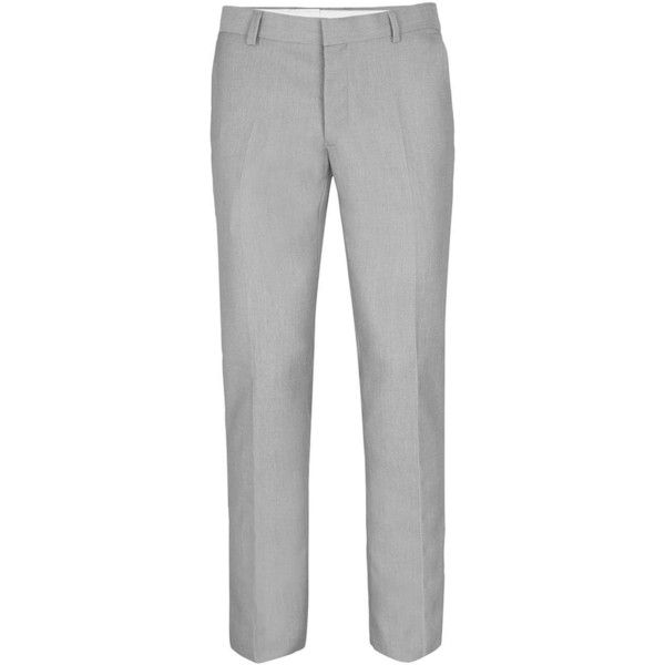 TOPMAN Grey Textured Skinny Fit Suit Trousers ($45) ❤ liked on Polyvore featuring men's fashion, men's clothing, men's pants, men's dress pants, grey, mens gray dress pants, mens zipper pants, mens grey dress pants, mens gray pants and mens skinny suit pants