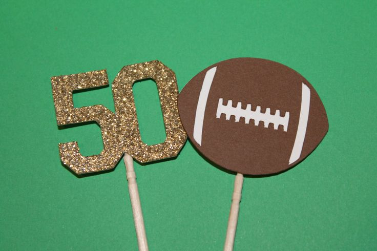 12 Super Bowl 50 Cupcake Picks - Football - Glitter 50 - Broncos - Panthers by BurlapPaperSack on Etsy