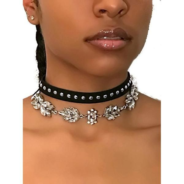 Crystal and Silver Studded Choker – JV Accessories