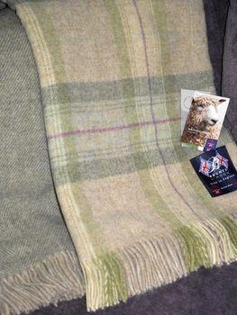 Bronte Green Skye Check Wool Blanket
