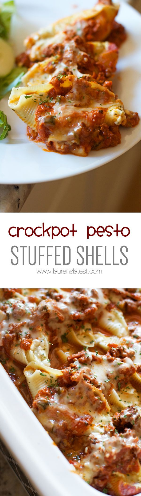 Crockpot Pesto Stuffed Shells....3 cheeses + pesto is the way to go. These look amazing.