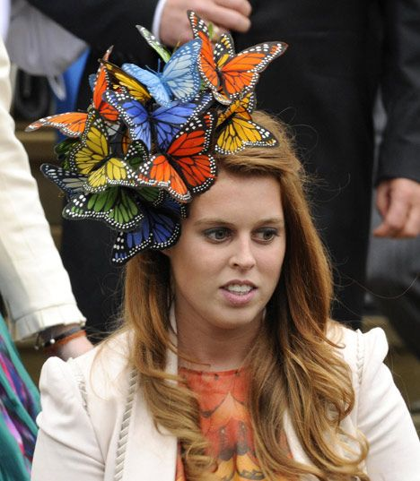 Princess Beatrice, sporting a Philip Treacy hat, was there to watch her cousin Peter get married.