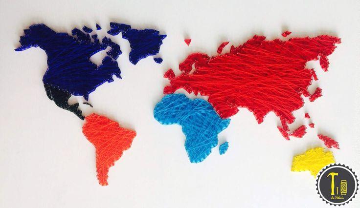 Cuadro hecho con hilo dise o el mundo en colores mundo for El mundo decoracion
