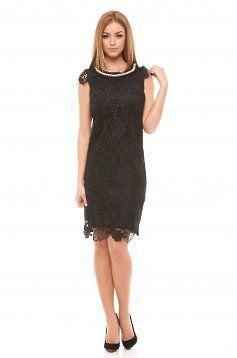 rochii midi elegante online dantela neagra accesorizata cu perle in zona decolteului