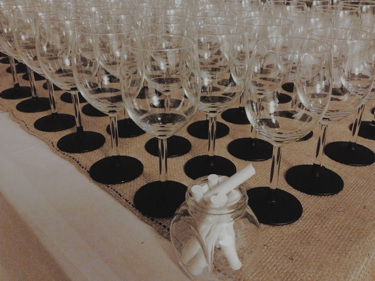 chalkboard-ed wine glasses, as name tags & bonbonniere/wedding favours.