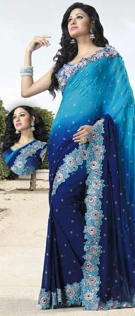 Deep Blue Faux Georgette Saree with Blouse    Itemcode: SKK11892     Price: US$ 168.47    Click @ http://www.utsavfashion.com/store/sarees-large.aspx?icode=SKK11892