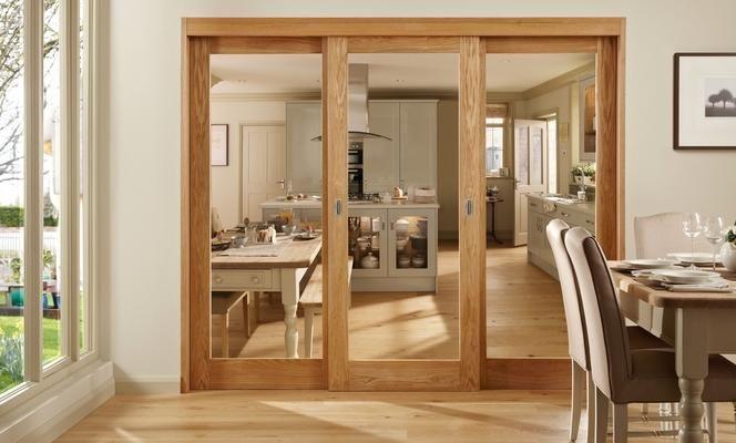Burford Single Panel Oak Glazed - kitchen through to dining area
