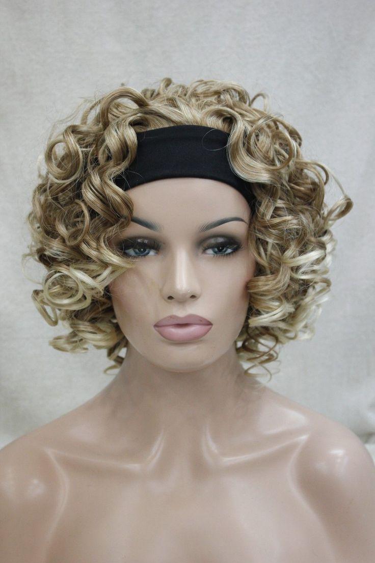 Клубника блондин / бледная блондинка короткие женские 3/4 половины парик с повязка на голову E-TJX03
