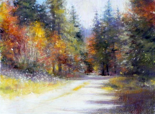 Chemin d 39 automne claude carvin pastel painting landscapes for painting pinterest - Peinture au pastel sec ...