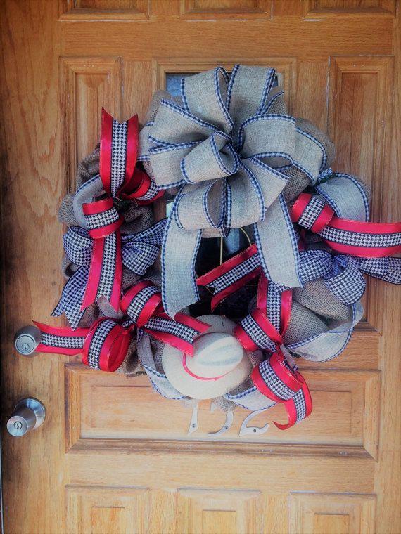 Alabama Wreath. Burlap Wreath Alabama Front Door by BamaDesigns