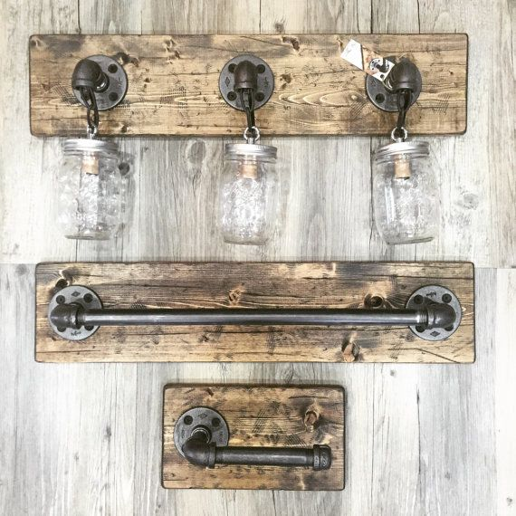 Image Of Rustic Industrial Modern Handmade All In One Bathroom Set Full Bathroom Set Mason Jar Light Pipe Wood Vanity Light Toilet Paper Holder