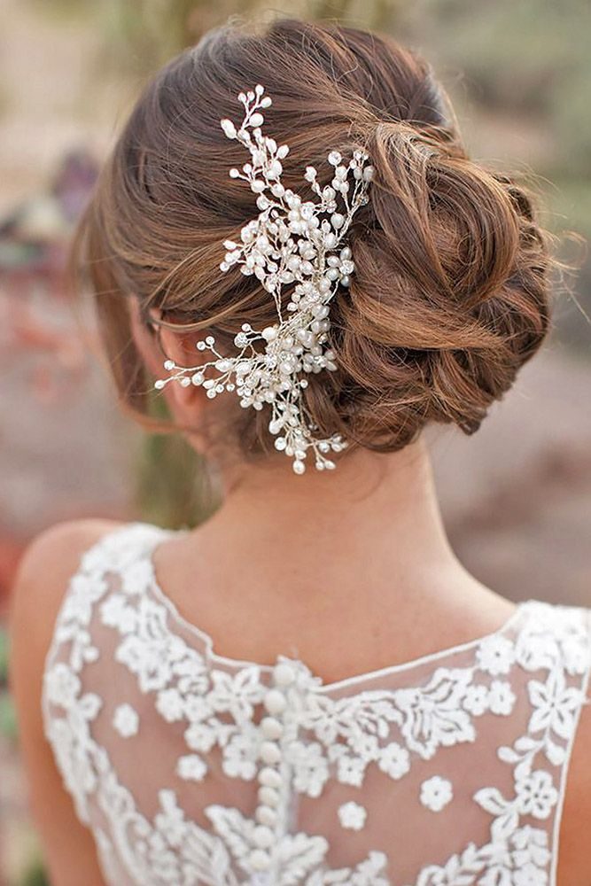 long swept back wedding hairstyles via amy and jordan photography | Deer Pearl Flowers
